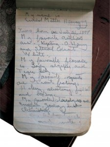 One of Hemingway's early notebooks